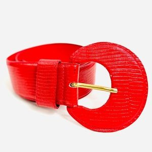 Vintage French Connection Red Snakeskin Belt